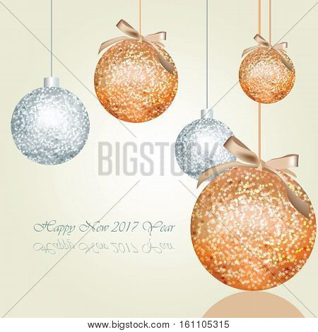 Happy New Year greeting card Vector with shiny Christmas balls. Place for text. Warm taupe trendy colors