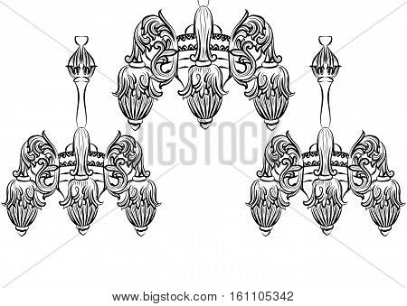 Vintage Baroque Elegant chandelier. Vector Luxury Royal Rich Style decor. Classic lamp illustration sketch