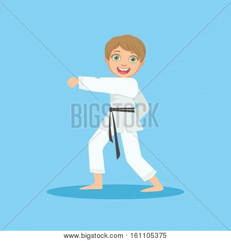 Boy Doing Fist Kick In White Kimono On Karate Martial Art Sports Training Cute Smiling Cartoon Character. Part Of Kids Fighters In Traditional Asian Karate Outfit Collection Of Vector Illustrations.