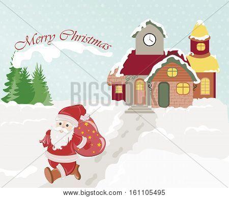 Merry Christmas Santa with gifts bag. Small vilage snow scene. Christmas snow scene. Vector illustration