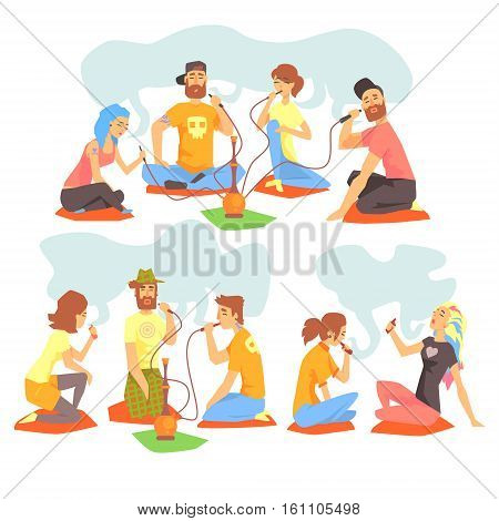 Young Cool People Smoking Hookah And Electronic Cigarettes Sitting On The Floor Set Of Illustration With Smokers And Vapers. Carton Vector Characters Using Alternative Ways To Smoke Tobacco.