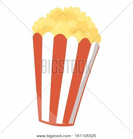 Fast food popcorn icon. Vector illustration for movie cinema menu design. Pop corn bag box cartoon image. Striped bucket isolated on white background.