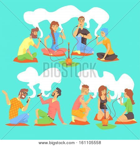 Young Hipsters Smoking Hookah And Electronic Cigarettes Sitting On The Floor Set Of Illustration With Smokers And Vapers. Carton Vector Characters Using Alternative Ways To Smoke Tobacco.