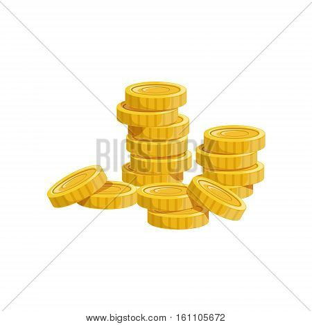 Pile Of Golden Coins, Hidden Treasure And Riches For Reward In Flash Came Design Variation. Cartoon Cute Vector Illustration With Isolated Treasury Object For Bonus Element In Video Games.