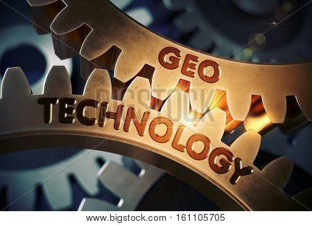 Geo Technology - Technical Design. Geo Technology on the Mechanism of Golden Cogwheels with Glow Effect. 3D Rendering.