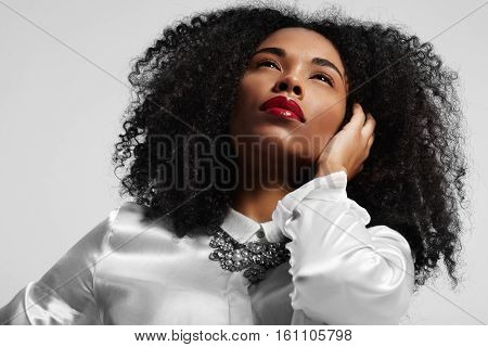 Portrait Of Black Woman With Afro Hair