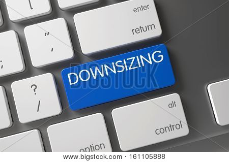 Downsizing Concept Modernized Keyboard with Downsizing on Blue Enter Keypad Background, Selected Focus. 3D Illustration.