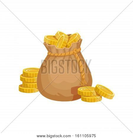 Small Sack With Golden Coins, Hidden Treasure And Riches For Reward In Flash Came Design Variation. Cartoon Cute Vector Illustration With Isolated Treasury Object For Bonus Element In Video Games.