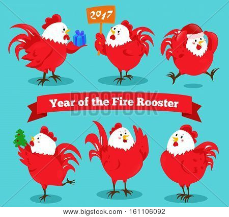 Set of cartoon chinese zodiac fire rooster. Vector illustration for holiday design. 2017 New year symbol. Red color. China lunar decoration. Oriental sign. Traditional cock. Crowing chicken bird.