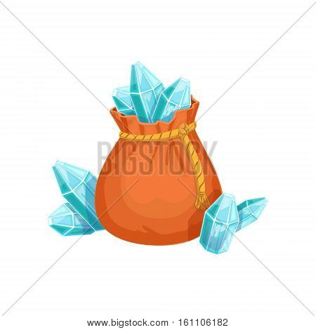 Small Sack Of Blue Crystal Gems, Hidden Treasure And Riches For Reward In Flash Came Design Variation. Cartoon Cute Vector Illustration With Isolated Treasury Object For Bonus Element In Video Games.