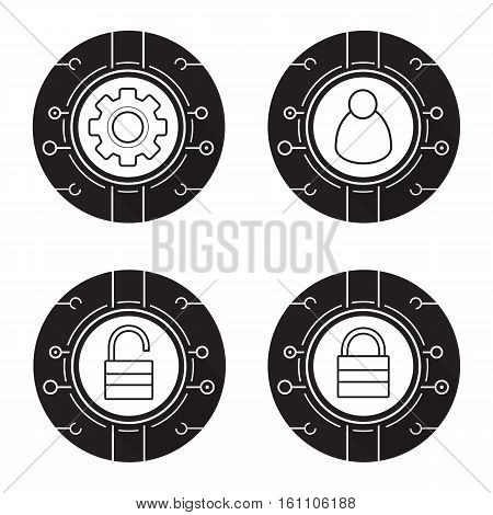 Cyber security icons set. Access denied, network admin, settings, access granted. Digital symbols. Vector white illustrations in black circles