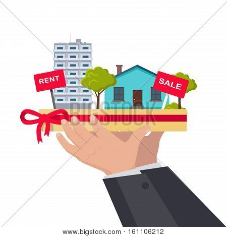 Real estate concept vector. Flat design. Hands holding salver with houses, trees, rent and sale signs on it. Illustration for real estate company advertising, housing concepts. On white background.