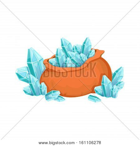 Big Sack Of Blue Grystal Gems, Hidden Treasure And Riches For Reward In Flash Came Design Variation. Cartoon Cute Vector Illustration With Isolated Treasury Object For Bonus Element In Video Games.