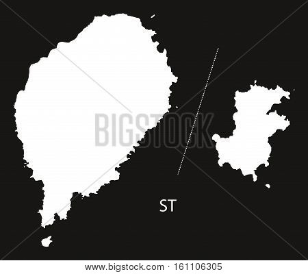 Sao Tome And Principe Map Black And White Illustration