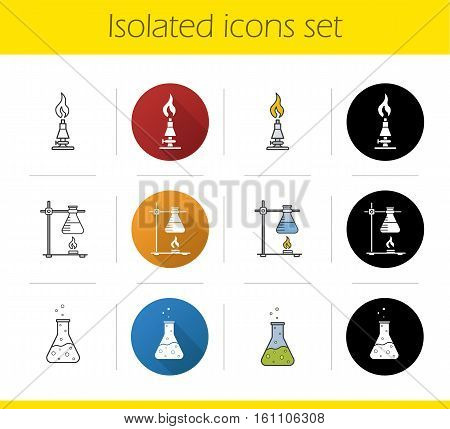 School chemical lab equipment icons set. Flat design, linear, black and color styles. Ring stand with flask, chemical reaction, lab burner. Isolated vector illustrations