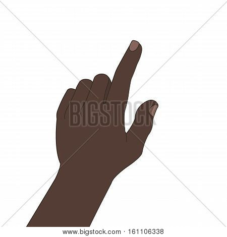 Pointing hand color illustration. African-american man's hand pressing button. Isolated vector drawing