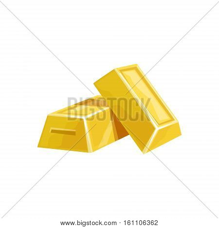 Two Golden Bars, Hidden Treasure And Riches For Reward In Flash Came Design Variation. Cartoon Cute Vector Illustration With Isolated Treasury Object For Bonus Element In Video Games.