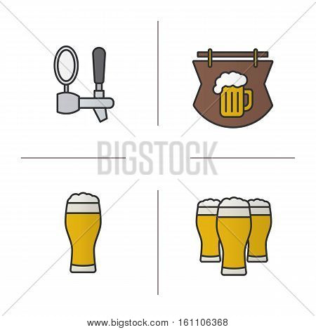 Beer pub color icons set. Wooden bar signboard, foamy beer glasses and tap. Isolated vector illustrations