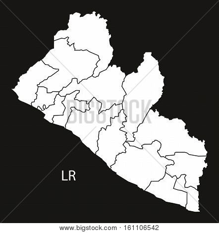 Liberia Counties Map Black And White Illustration