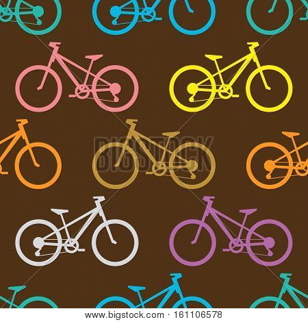 Retro bike seamless pattern. Vector illustration for bicycle transport design. Bright vehicle pattern. Sport race ride cute wallpaper background. Cartoon silhouette shape. Healthy active leisure