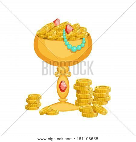 Golden Goblet With Gold Coins And Jewelry, Hidden Treasure And Riches For Reward In Flash Came Design Variation. Cartoon Cute Vector Illustration With Isolated Treasury Object For Bonus Element In Video Games.