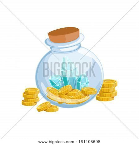 Sealed Glass Jar With Golden Coins And Blue Crystal Gems, Hidden Treasure And Riches For Reward In Flash Came Design Variation. Cartoon Cute Vector Illustration With Isolated Treasury Object For Bonus Element In Video Games.