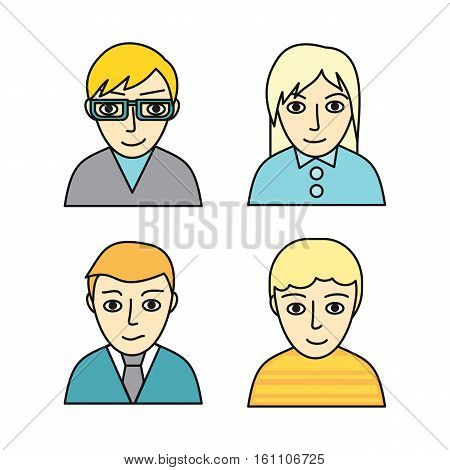 Set of people characters avatar vectors in flat design. Female and male portrait icons. Illustrations for identity in Internet, concepts, app pictograms, infographic. Isolated on white background.