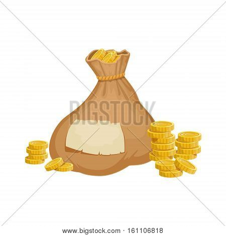Large Heavy Closed Sack With Golden Coins, Hidden Treasure And Riches For Reward In Flash Came Design Variation. Cartoon Cute Vector Illustration With Isolated Treasury Object For Bonus Element In Video Games.