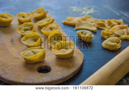 Homemade Pasta Tortellini From Real Semolina Flour From Italy