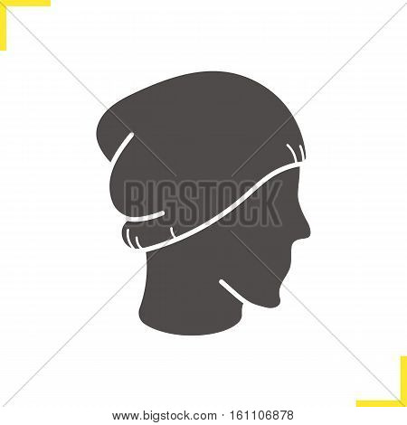 Winter hat icon. Silhouette symbol. Ski cap on mannequin's head. Negative space. Vector isolated illustration
