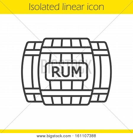 Rum wooden barrels linear icon. Thin line illustration. Contour symbol. Alcohol wooden barrels. Vector isolated outline drawing