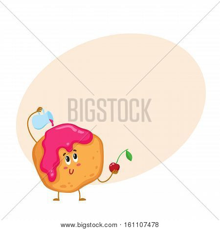 Cute and funny freshly baked donut, bun, scone character pouring cherry jam over itself, cartoon vector illustration on background with place for text. Funny smiling donut, scone character with jam