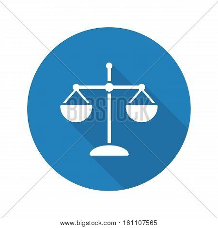 Scale flat design long shadow icon. Scales of justice. Law and jurisprudence vector silhouette symbol