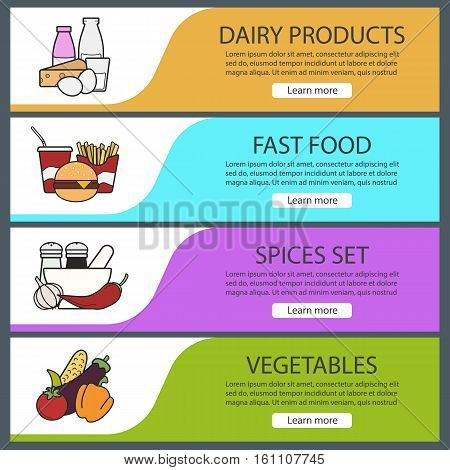 Products categories banner templates set. Easy to edit. Fastfood, spices, vegetables, dairy products. Website menu items. Color web banner. Vector headers design concepts