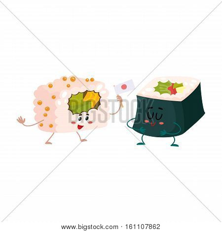 Two cute and funny Japanese nori, seaweed roll characters, cartoon vector illustration isolated on white background. Couple of smiling seaweed, nori roll characters, Asian cuisine