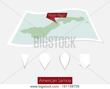 Curved Paper Map Of American Samoa With Capital Pago Pago On Gray Background. Four Different Map Pin