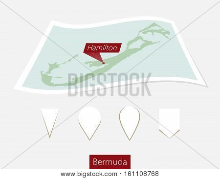 Curved Paper Map Of Bermuda With Capital Hamilton On Gray Background. Four Different Map Pin Set.