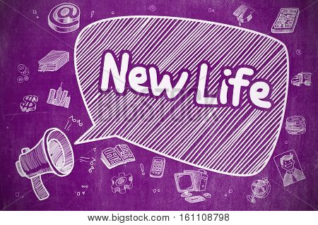 New Life on Speech Bubble. Hand Drawn Illustration of Yelling Bullhorn. Advertising Concept. Screaming Horn Speaker with Phrase New Life on Speech Bubble. Doodle Illustration. Business Concept.