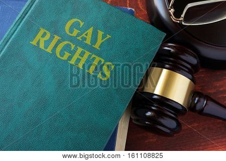 Gay rights title on a book and gavel.