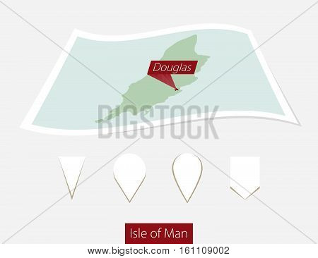 Curved Paper Map Of Isle Of Man With Capital Douglas On Gray Background. Four Different Map Pin Set.