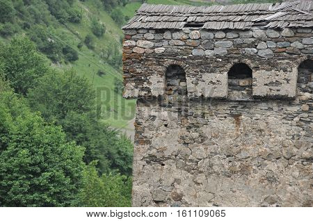 Georgia. Swan tower. Residential building defensive in the mountains. Caucasus.