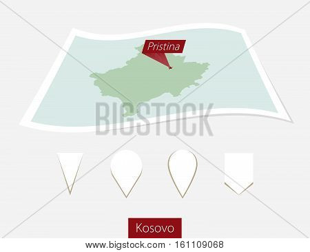 Curved paper map of Kosovo with capital Pristina on Gray Background. Four different Map pin set. Vector Illustration. poster