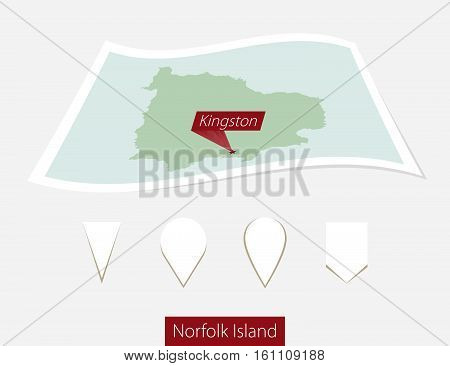 Curved Paper Map Of Norfolk Island With Capital Kingston On Gray Background. Four Different Map Pin