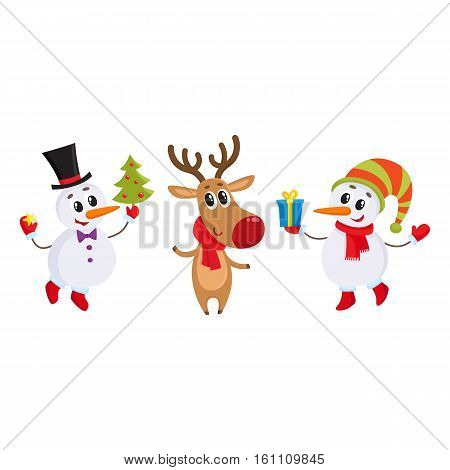 two funny snowman and reindeer holding a Christmas tree and gift box, cartoon vector illustration isolated on white background. Deer and snowman, Christmas attributes, decoration elements