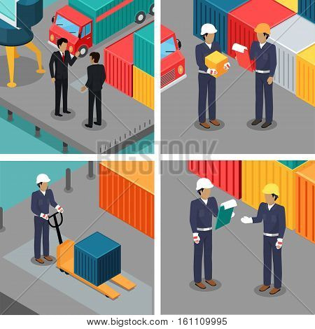 Set of dock workers at warehouse. Cargo worker and foreman. Supervisor check container data. Inspector control working process in seaport. Coworkers near cargo containers. Businessmen talking. Vector