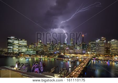 SYDNEY AUSTRALIA - December 8 2016 : Thunderstorm of Darling Harbour adjacent to the city center of Sydney and also a recreational place in Sydney central business district