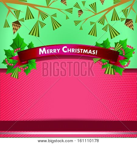 Holiday promotional advertising ribbon with decoration of Christmas ribbon, X-Mas tree branches, cones and berries in crimson shades