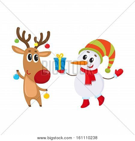 funny deer holds Christmas toys and snowman gift box, cartoon vector illustration isolated on white background. Deer and snowman, Christmas attributes, decoration elements