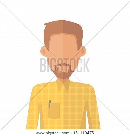 Young man private avatar icon. Young man in yellow shirt with beard. Social networks business private users avatar pictogram. Isolated vector illustration on white background.