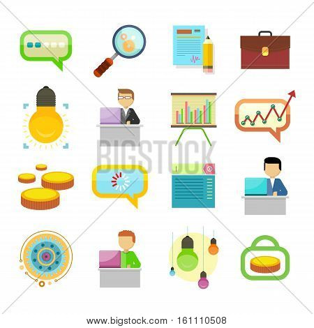 Business strategy, performance analysis, search for solutions icons set. Messaging sign, magnifier, document, bag, lamp, person, chart money cloud gear laptop Presentation signs Vector